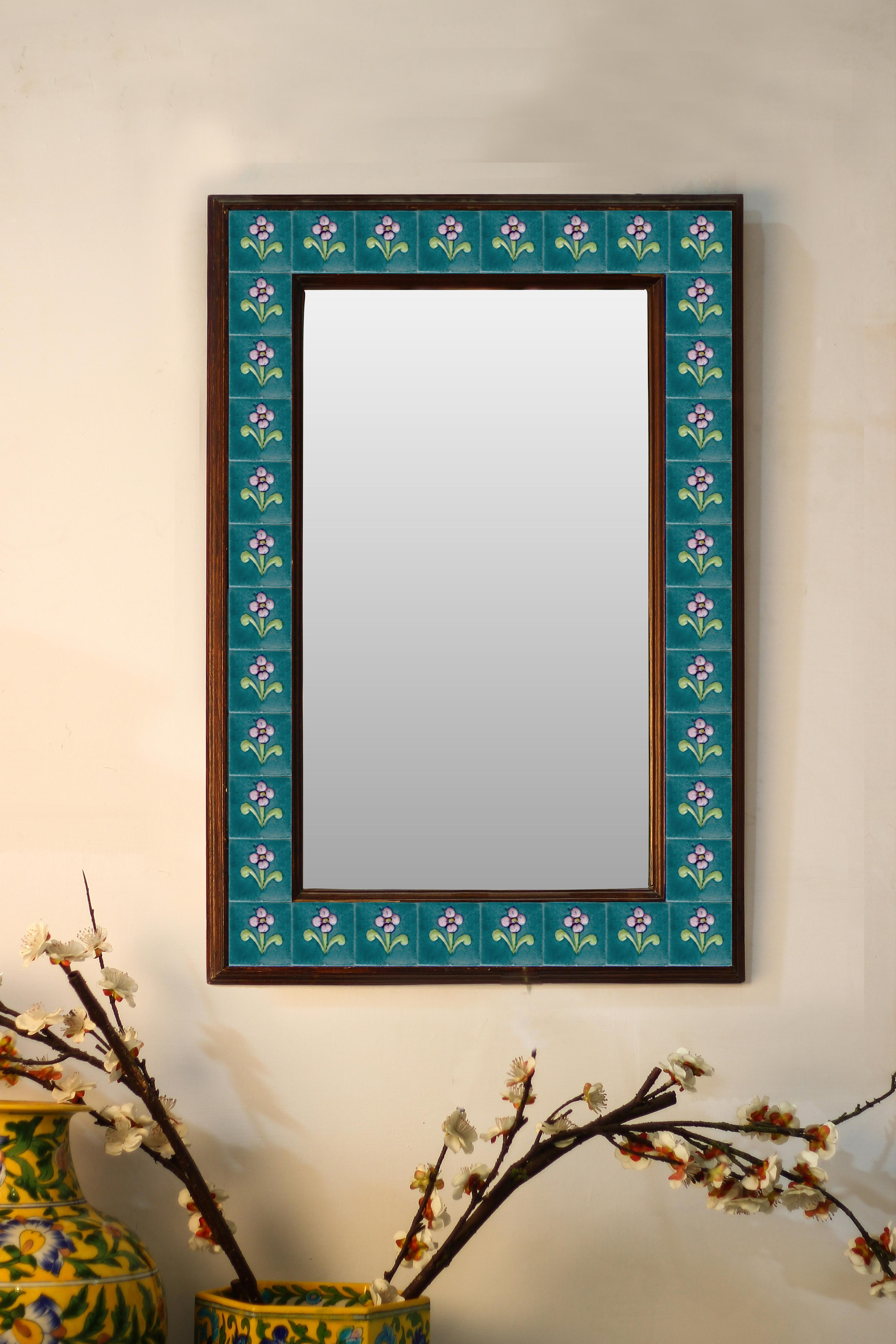 Teal Color Floral Embossed Tiled Mirror 16 X 24 Mira Tiles Stones