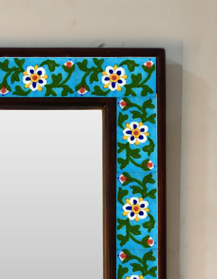 TURQUOISE BASE WITH FLOWER TILE MIRROR 20X24 INCH – Mira Tiles & Stones
